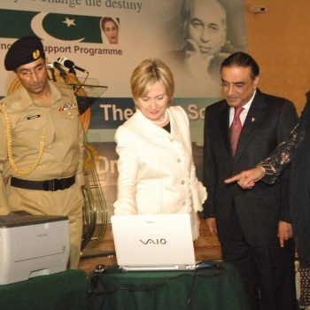 United States Secretary of State Mrs. Hillary Clinton Pushes The Button Of Waseela-e-Haq Draw Along With President Mr. Asif Ali Zardari And Madam Farzana Raja At President House Islamabad